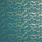 Saplings Turquoise/Gold (MISP1012) Wallpaper