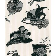 Harriette Ebony & Powder White (OMCC09103) Wallpaper